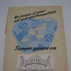 Arte: SEGUROS FINISTERRE S.A. PUBLICIDAD ORIGINAL DIBUJO A MANO ACUARELA . EN CARTÓN GRUESO .. Lote 19863363