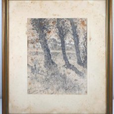 Arte: ROIG ENSEÑAT. SANTA PERPETUA DE LA MOGODA, 1906. LÁPIZ SOBRE PAPEL 20X25, MARCO: 41X36 CM. Lote 15126353