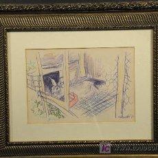 Arte: DIBUJO COLOREADO FIRMADO IGNASI MUNDO. AÑO 1970. Lote 24963036