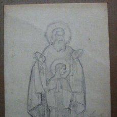 Arte: 1975.- DIBUJO LÁPIZ 23X32. ISIDRE R. DE CASAS 1960. PADRE E HIJO. Lote 25164938