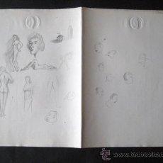 Arte: DIBUJOS A LAPIZ.Y CARICATURAS AÑOS 30. DIBUJADOS EN PAPELNOTARIAL. ENVIO GRATIS¡¡¡. Lote 15651269