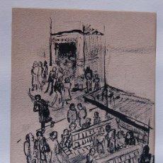 Arte: DIBUJO ORIGINAL A TINTA DE 1940/50 APROX. DE ORIGEN FRANCES BIBLIOTECA. Lote 13791913