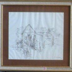 Arte: H.V. BISMARCK, 1942. PAISAJE CON CASA, TINTA SOBRE PAPEL 32X37 CM. MARCO: 48 X 53 CM.. Lote 22339510