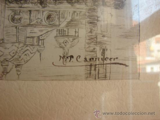Arte: DIBUJO ANTIGUO A PLUMILLA O SANGUINA. FIRMADO M.P. CARNICER - Foto 3 - 27077659