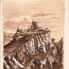 Arte: PRECIOSO DIBUJO A TINTA CHINA Y COLORES SEPIAS DEL CASTILLO DE DOMFRONT. Lote 26469731