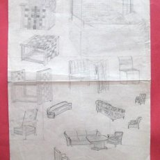 Arte: ANTIGUO DIBUJO A LAPIZ. SILLAS, SOFAS Y MESAS. INTERESANTE. ..ENVIO GRATIS¡¡¡. Lote 15165195