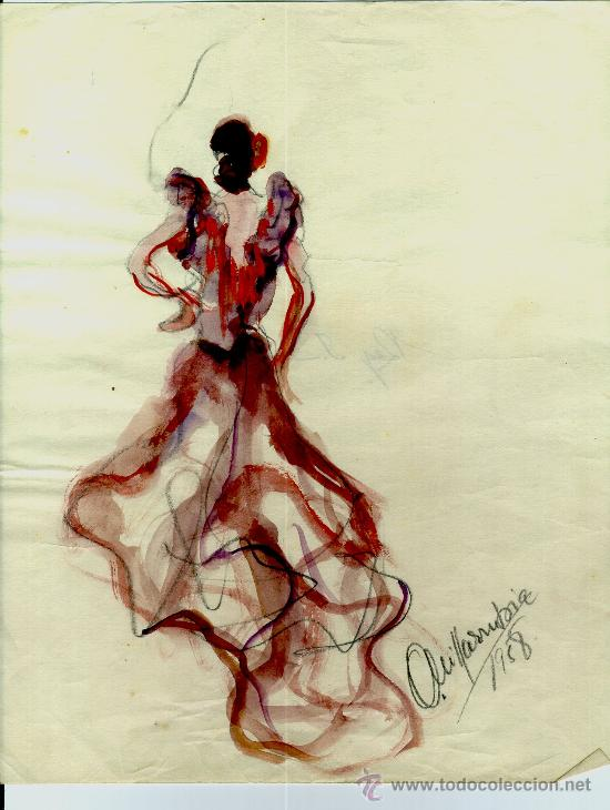 AA232-DIBUJO ACUARELADO FIRMA ILEGIBLE ¿VILARUDONA? AÑO 1958 (Arte - Dibujos - Contemporáneos siglo XX)