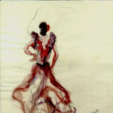 Arte: AA232-DIBUJO ACUARELADO FIRMA ILEGIBLE ¿VILARUDONA? AÑO 1958. Lote 26377306