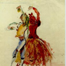 Arte: AA231-DIBUJO ACUARELADO FIRMA ILEGIBLE ¿VILARUDONA? AÑO 1958. Lote 26551838