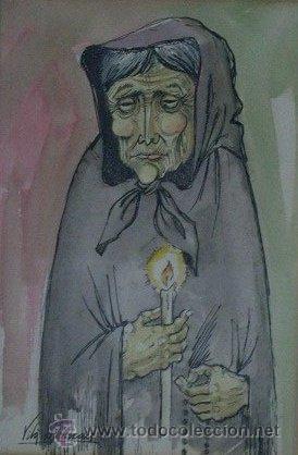 J007-JOAN VILÀ MONCAU, PINTOR DIBUJANTE Y GRABADOR NACIDO EN VIC EN 1924. ESTABLECIDO EN OLOT (Arte - Dibujos - Contemporáneos siglo XX)