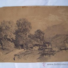 Arte: 'PAISAJE'. FIRMADO R. WILSON. DIBUJO DE MEDIADOS DEL SIGLO XIX.. Lote 27065652