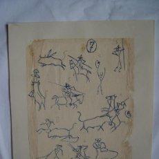 Arte: 'TEMA TAURINO' DIBUJO DE LA PINTORA NACIDA EN CALATAYUD CARMEN OSÉS (1898-1961). . Lote 27089848