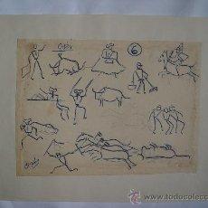 Arte: 'TEMA TAURINO' DIBUJO DE LA PINTORA NACIDA EN CALATAYUD CARMEN OSÉS (1898-1961).. Lote 27089849