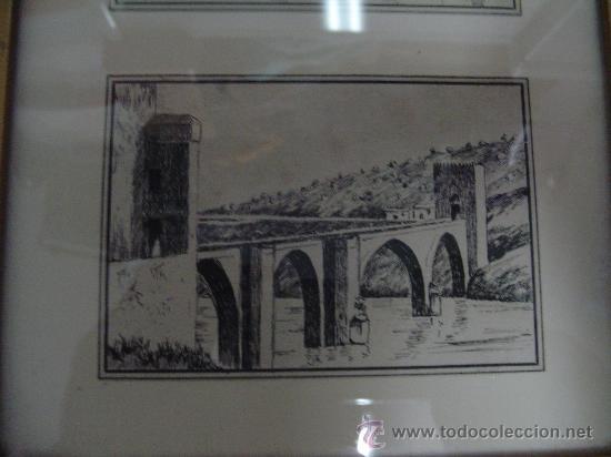 Arte: CUADRO PLUMILLAS TOLEDO PUENTE DE SAN MARTIN Y BASÍLICA DEL PILAR ZARAGOZA. - Foto 2 - 27299698