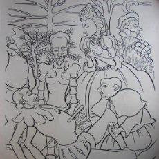 Arte: JUAN MOREIRA. DIBUJO PINCEL Y TINTA CHINA SOBRE CARTULINA. LA MUERTE DEL DUQUE. QUIJOTE. 1972. Lote 27220450