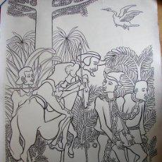 Arte: JUAN MOREIRA. DIBUJO PINCEL Y TINTA CHINA SOBRE CARTULINA. LIBERACION DE LOS PRESOS. QUIJOTE. 1972. Lote 27220451