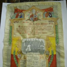 Arte: DOCUMENTO EN PERGAMINO PALMA MALLORCA DIBUJADO POR R. ESCLASANS HOMENAJE DE LOS MILITARES . 1936 .. Lote 24318501