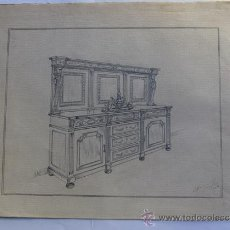 Arte: BOCETO / DIBUJO DISEÑO MUEBLE / A. MARGALEF / AÑO 1949 / BARCELONA. Lote 26318758