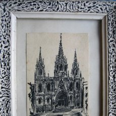 Arte: DIBUJO A PLUMILLA MINIATURA-6 X 8 CM--FIRMADA-1952-CATEDRAL -TINTA CHINA. Lote 20454924
