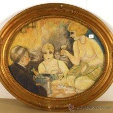 Arte: CUADRO -DIBUJO EN MARCO OVALADO. ANÓNIMO. Lote 18994005