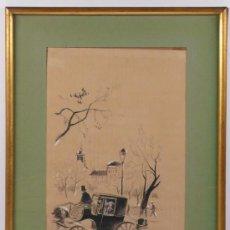 Arte: PAISAJE CON COCHE DE CABALLOS, FIRMA ILEGIBLE, CARBÓN Y LÁPIZ SOBRE PAPEL. MARCO: 31X40 CM.. Lote 19028452