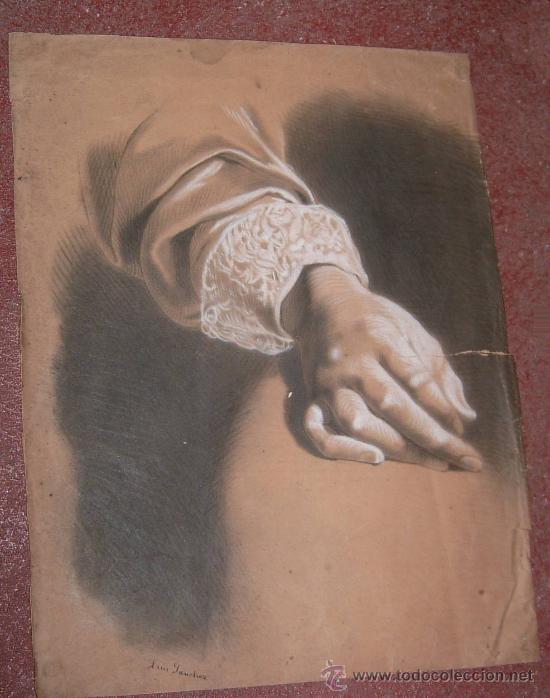 ANTIGUO PRECIOSO DIBUJO SIGLO XIX A CARBONCILLO FIRMADO (Arte - Dibujos - Modernos siglo XIX)