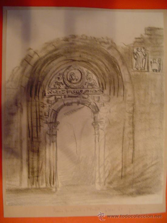 "APUNTE A LÁPIZ Y CARBONCILLO SOBRE PORTADA DE IGLESIA. 1960. ESCRITO ""RUINA ... ST VINCENT"". FRANCIA (Arte - Dibujos - Contemporáneos siglo XX)"