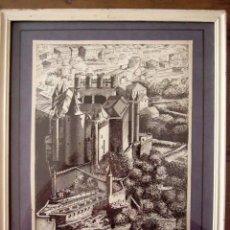 Arte: DIBUJO ORIGINAL A PLUMILLA DE EL ALCAZAR DE SEGOVIA. FIRMADO POR GUZMAN. ENMARCADO.. Lote 19554137