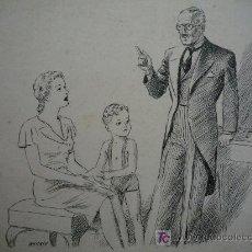 Arte: DIBUJO DE LOS AÑOS 40, TINTA SOBRE CARTULINA, ORIGINAL ILUSTRACIÓN LIBRO, FIRMADO WHITNEY, CALIDAD.. Lote 19868805