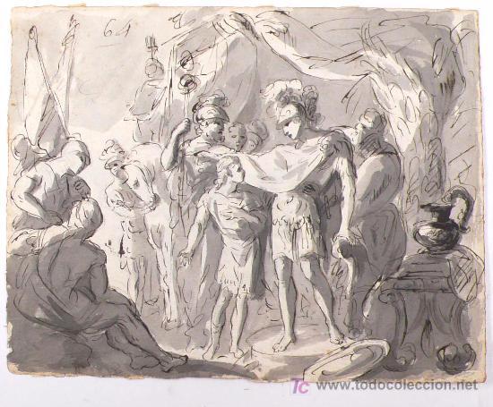 DIBUJO A TINTA A DOBLE CARA, SOBRE PAPEL, S.XVIII, CATALUÑA. 20 X 25 CM. (Arte - Dibujos - Contemporáneos siglo XX)