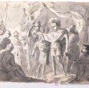 Arte: DIBUJO A TINTA A DOBLE CARA, SOBRE PAPEL, S.XVIII, CATALUÑA. 20 X 25 CM.. Lote 25879343