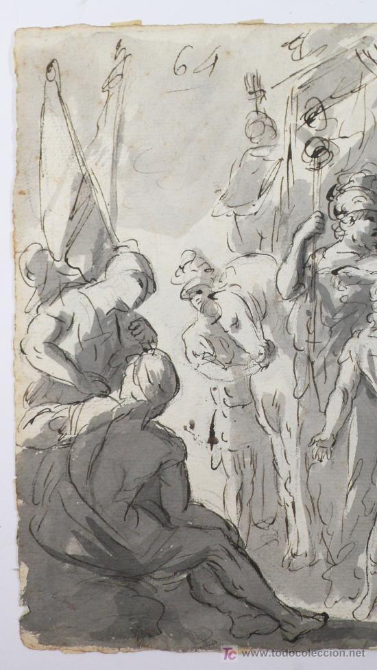 Arte: DIBUJO A TINTA A DOBLE CARA, SOBRE PAPEL, S.XVIII, CATALUÑA. 20 X 25 CM. - Foto 8 - 25879343