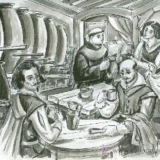 Arte: DIBUJANTE YEBRA. ESCENA DEL SIGLO XVI. TINTA CHINA Y AGUADA. DIBUJO ORIGINAL (C. 1955-1965). Lote 26443968