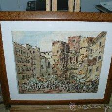 Arte: DIBUJO A TINTA-FIRMADO VILLORIA-MERCADO EN UNA PUERTA DE BARCELONA. Lote 20810974