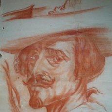 Arte: ANTIGUO RETRATO DE CABALLERO, NECESITA RESTAURACIÓN, PAPEL CON MARCA DE AGUA, FIRMADO, CALIDAD. Lote 21346757