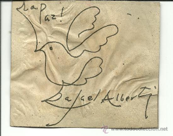 1935 ORIGINAL DIBUJO HECHO POR RAFAEL ALBERTI Y FIRMADO DURANTE SU VIAJE A CUBA PALOMA DE PAZ ARTE (Arte - Dibujos - Contemporáneos siglo XX)
