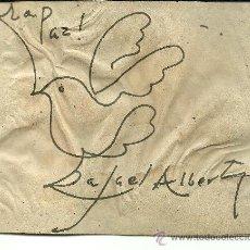 Arte: 1935 ORIGINAL DIBUJO HECHO POR RAFAEL ALBERTI Y FIRMADO DURANTE SU VIAJE A CUBA PALOMA DE PAZ ARTE. Lote 26005453