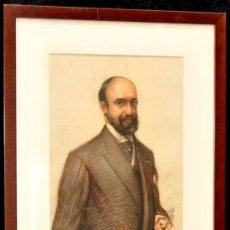 Arte: RAMON PALMAROLA ROMEU. DIBUJO A CARBÓN Y SANGUINA FECHADO EN PARÍS DEL AÑO 1908 (RETRATO). Lote 118498452
