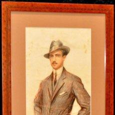 Arte: RAMON PALMAROLA ROMEU. DIBUJO A CARBÓN Y SANGUINA FECHADO EN PARÍS DEL AÑO 1908 (RETRATO). Lote 27363832