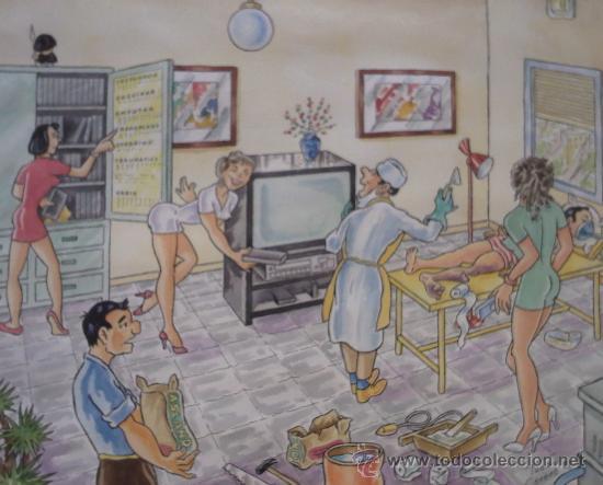 DIBUJO COLOREADO FIRMADO TUBAU CORNET, MEDIDAS 31X39 CM. (Arte - Dibujos - Contemporáneos siglo XX)