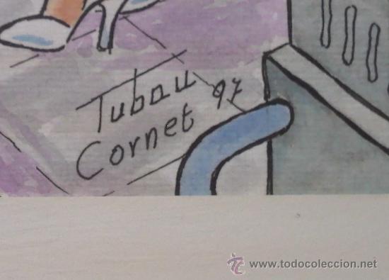 Arte: dibujo coloreado firmado Tubau Cornet, medidas 31X39 cm. - Foto 2 - 26247196