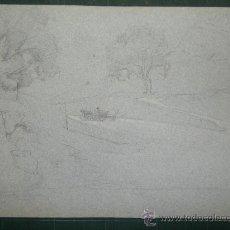 Arte: ERNESTO GUTIERREZ. PAISAJE Y CARRO. Lote 26456820