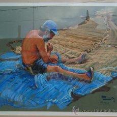 Arte: RICARDO REX - PASTEL - PESCADOR COSIENDO LA RED (BLANES 1990).. Lote 27025963