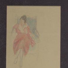 Arte: RARISIMO DIBUJO COLOREADO DE JACOBO SUREDA MONTANER (1901-1935) PINTOR Y POETA DE MALLORCA. Lote 24194099