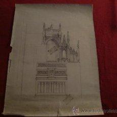 Arte: MAGNÍFICO DIBUJO A LAPIZ DEL PLANO DE UN ALTAR. S. XIX-XX. SEVILLA.. Lote 24944064