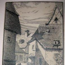 Arte: 1917 - BELLO DIBUJO EN TINTA CHINA - FIRMADO POR FISCHBACH, Y DATADO - BELLA OBRA. Lote 26535342