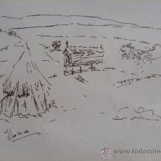 Arte: ILLANA - DIBUJO - 29 X 35 CM - HORREO, PAISAJE GALLEGO.. Lote 26904210