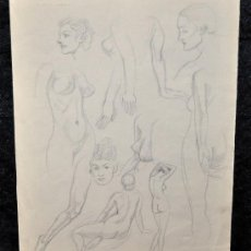 Arte: ISMAEL SMITH. DIBUJO ORIGINAL A LÁPIZ GRASO. ESBOZOS. FECHADO DEL 26 OCTOBER 1935. Lote 26574640