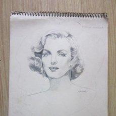 Arte: DIBUJO A LAPIZ DE MARYLIN MONROE, ORIGINAL EN UN CUADERNO CON VARIOS DIBUJOS MAS. Lote 26916584