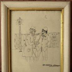 Arte: SERRA MASSANA, JOSEP DIBUJO A TINTA SOBRE PAPEL. FIRMADO. ENMARCADO. 35 X 27. Lote 27184442